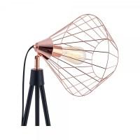 Black & Copper Hamilton Caged Tripod Floor Lamp ...