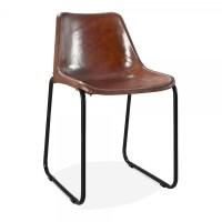 Brown Leather Maxwell Metal Dining Chair | Industrial ...