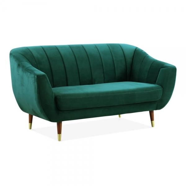 Teal Velvet Upholstered Melvin 2 Seater Loveseat Sofa