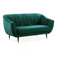 Teal Velvet Upholstered Melvin 2 Seater Loveseat Sofa