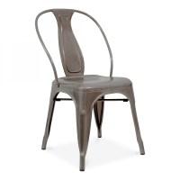 Vintage French Metal Caf Chair - Gunmetal   Cult UK