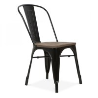 Xavier Pauchard Style Black Side Chair with Elm Wood Seat ...