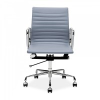 Charles Eames Style Grey Short Back Ribbed Office Chair ...