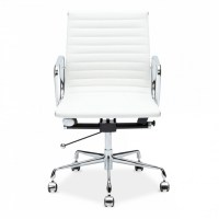 Eames Style White Ribbed Short Back Chair | Office Chairs ...
