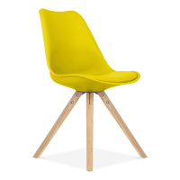 Eames Inspired Dining Chair in Yellow with Pyramid Wood ...