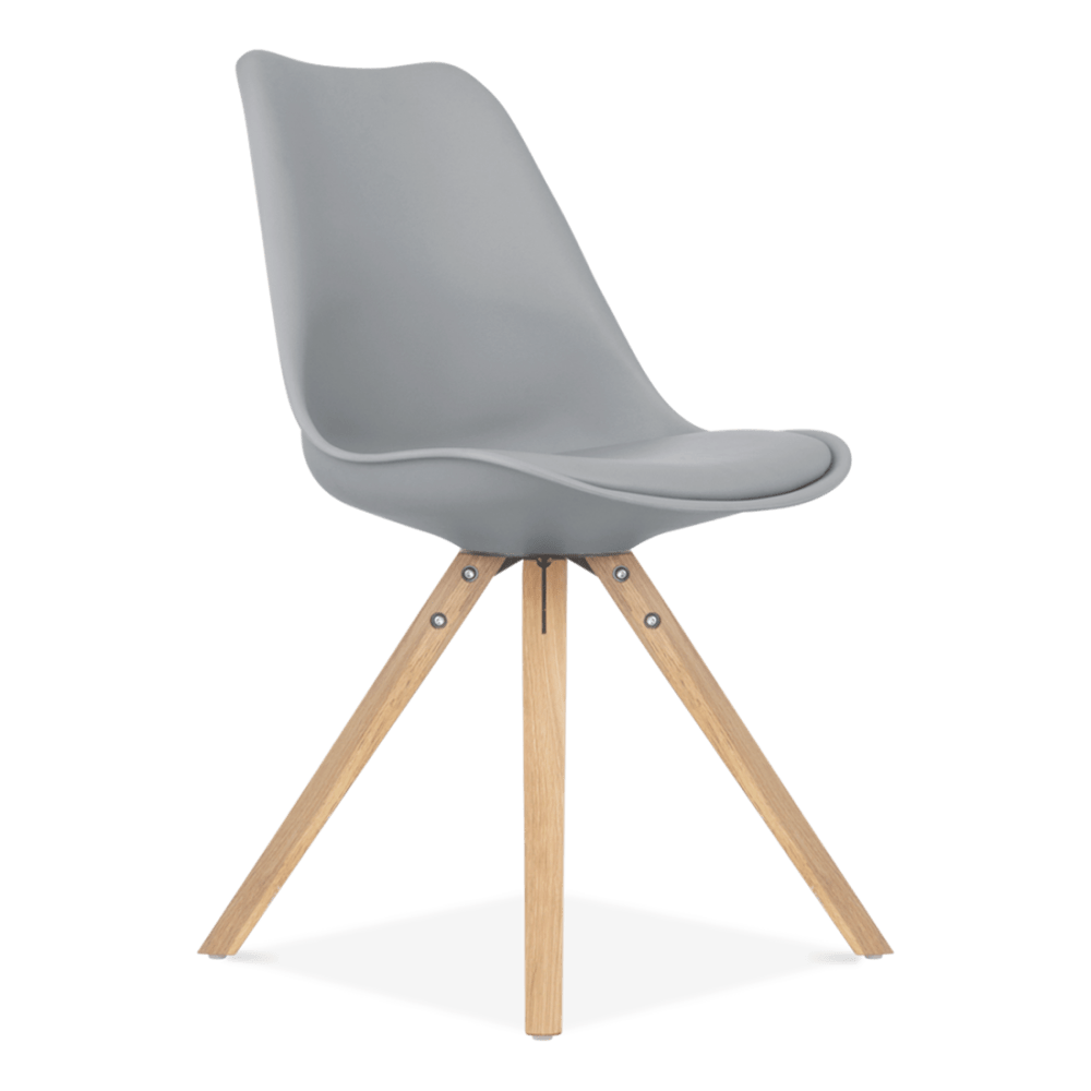 Dining Chair in Grey with Pyramid Style Solid Oak Legs