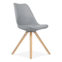 Dining Chair in Grey with Pyramid Style Solid Oak Legs ...