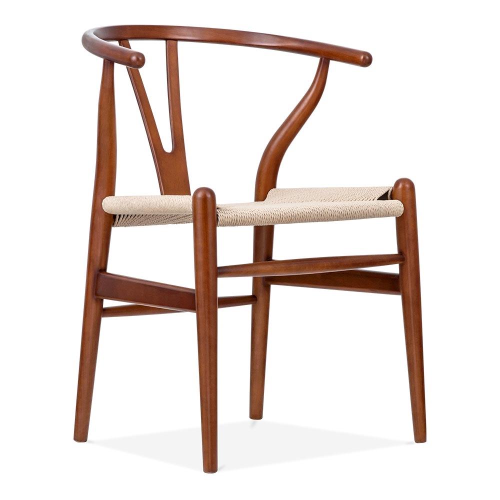 Hans Wegner Style Brown Wishbone Chair  Wood Dining