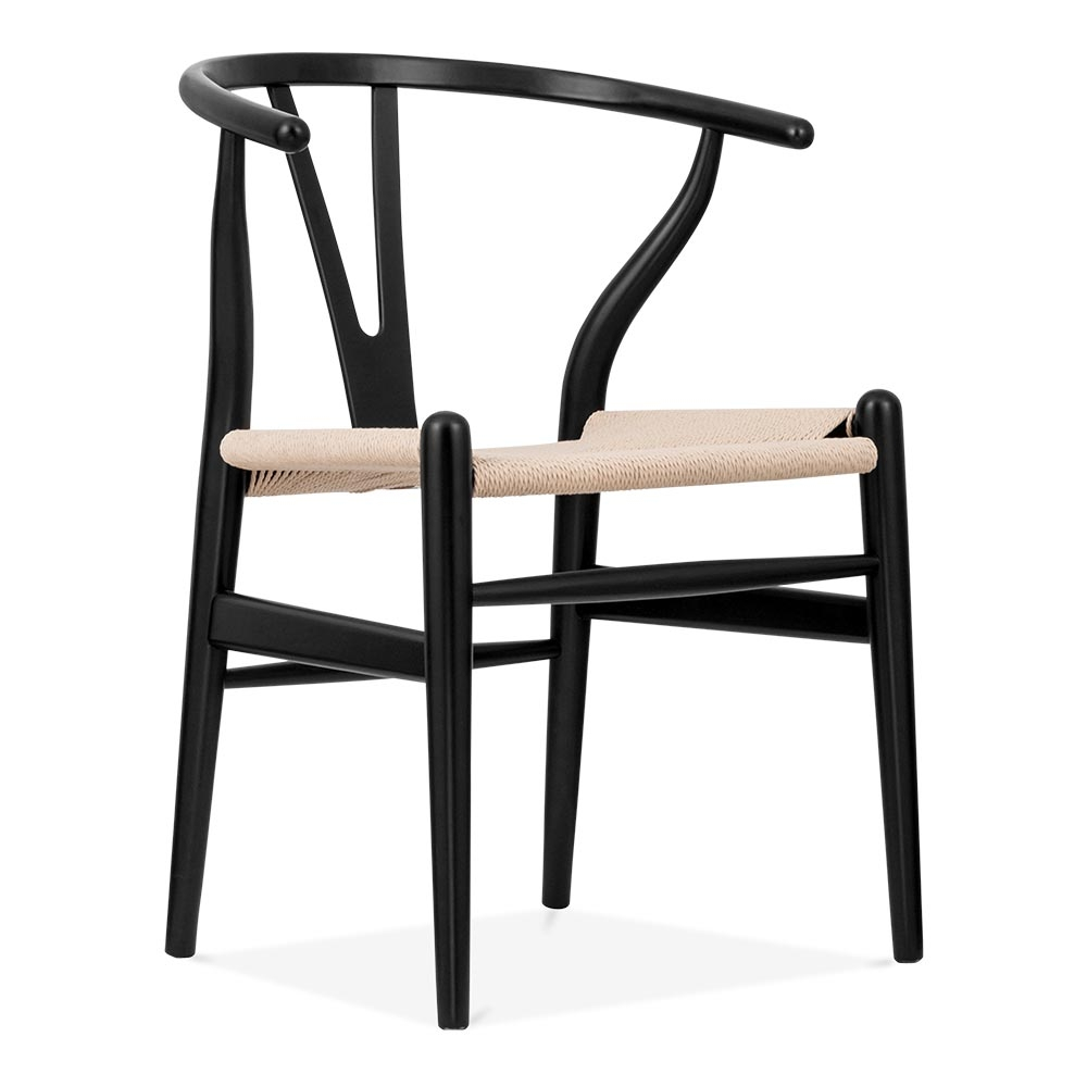 Hans Wegner Style Black Wishbone Chair with Natural Seat