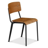 Cult Living French School Chair in Black With Wood Option ...