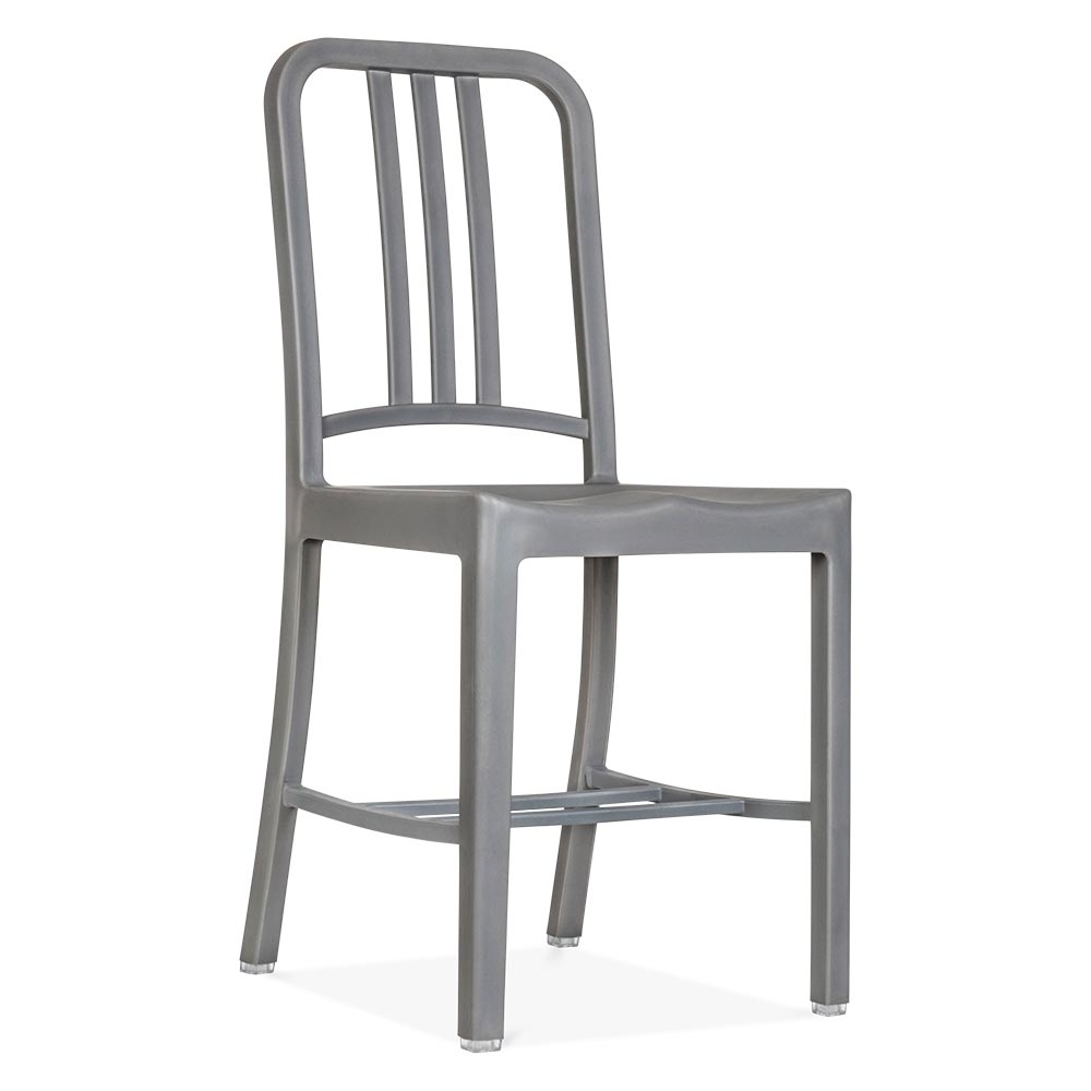 Navy Chair Style Plastic Dining Chair in Grey  Cult