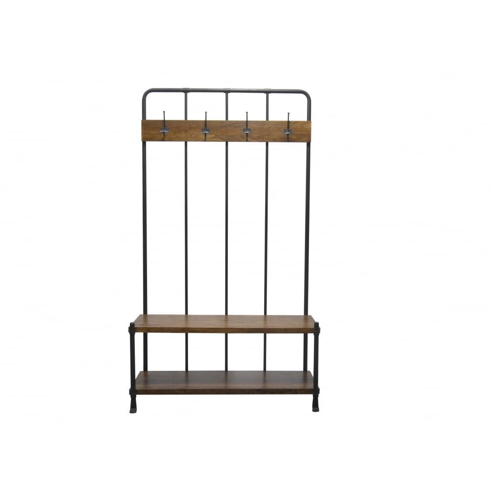 Industrial Coat Rack and Storage Bench
