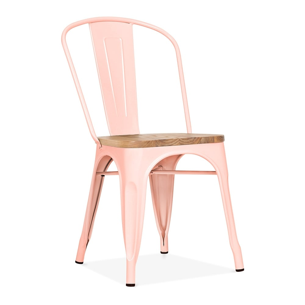 Tolix Pastel Pink Side Chair with Elm Wood Seat  Cult UK