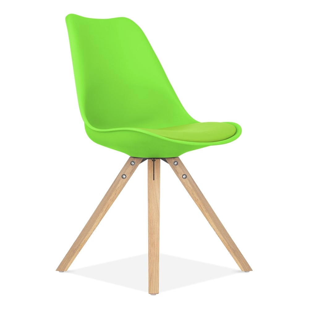 Lime Green Dining Chair with Pyramid Style Solid Oak Wood