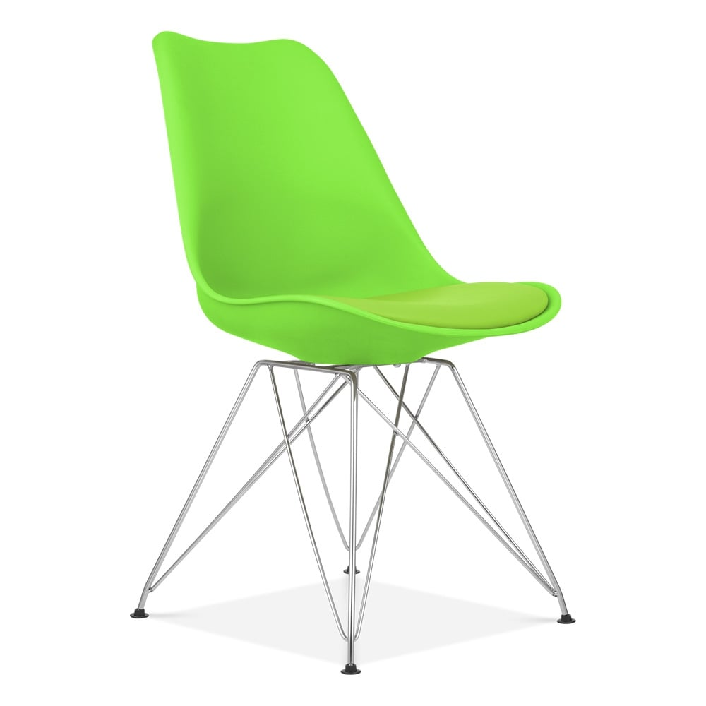 Dining Chair in Green with Eiffel Style Metal Legs  Cult