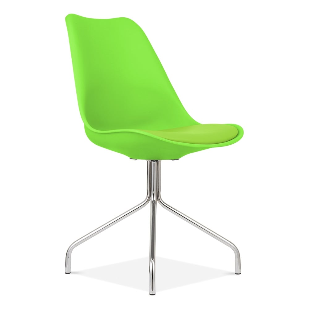 Green Dining Chairs with Cross Metal Legs  Modern Chairs