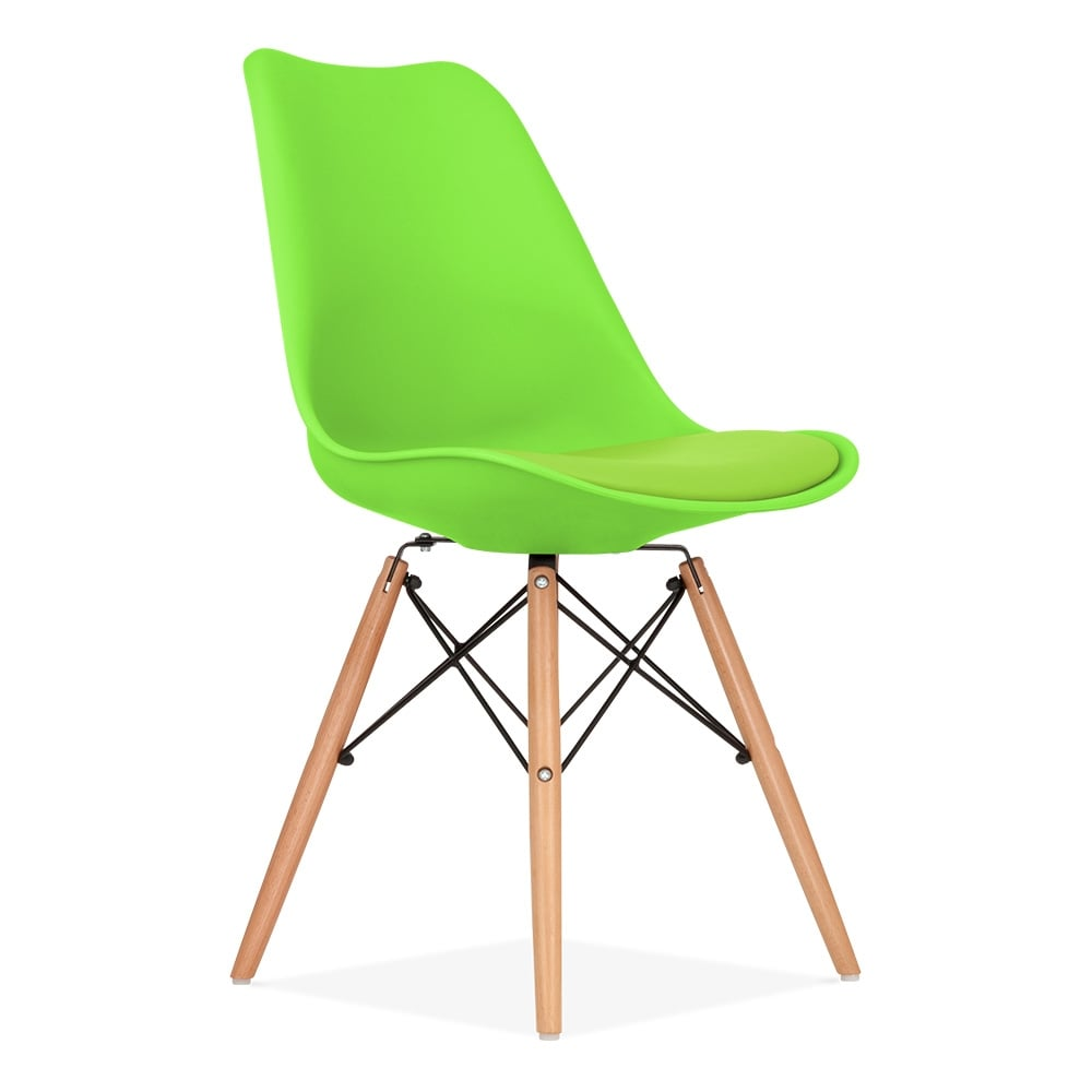 Dining Chair in Lime Green with DSW Style Natural Wood