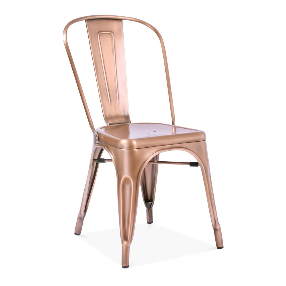 Tolix Style Light Copper Metal Side Chair  Cult Furniture
