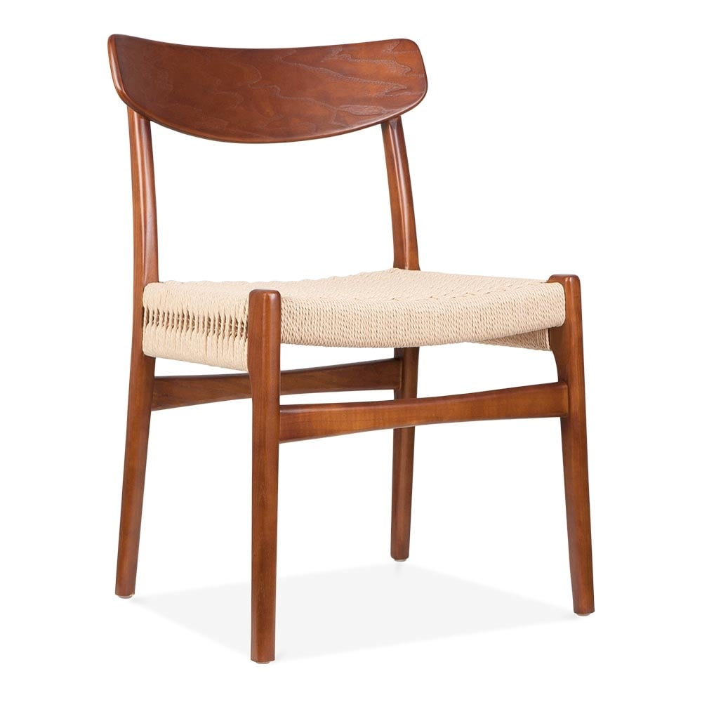Hans Wegner Style CH23 Chair in Brown with Natural Seat