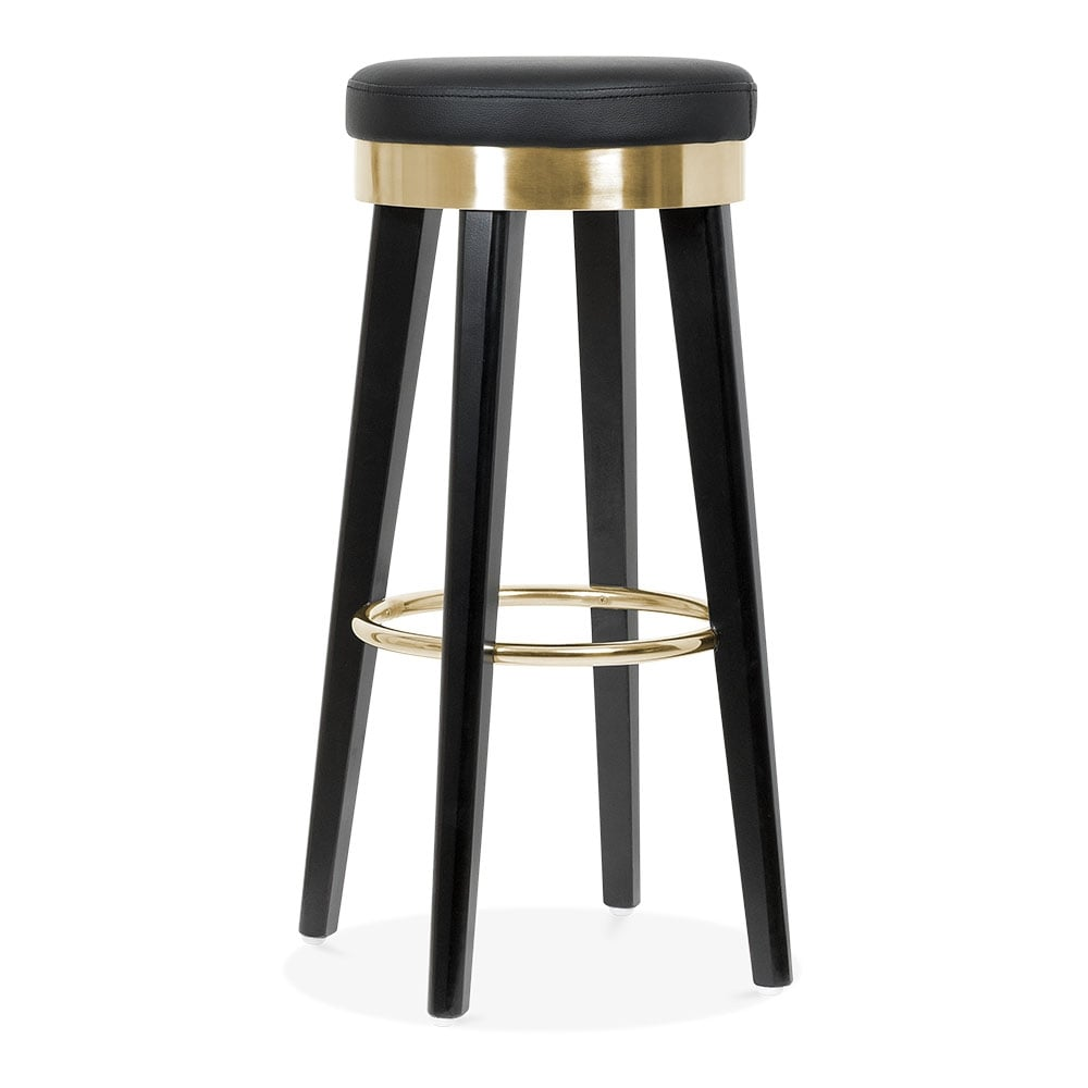 Fusion Wooden Bar Stool with Metal Ring Black Gold 75cm