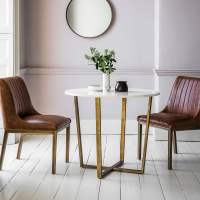 Gatsby Marble Top Dining Table White & Gold   Round Dining ...