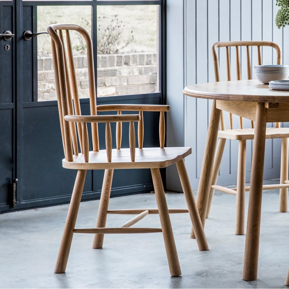 Alpine Solid Oak Carver Chair  Dining Chairs  Kitchen Chairs