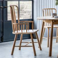 Alpine Solid Oak Carver Chair | Dining Chairs & Kitchen Chairs