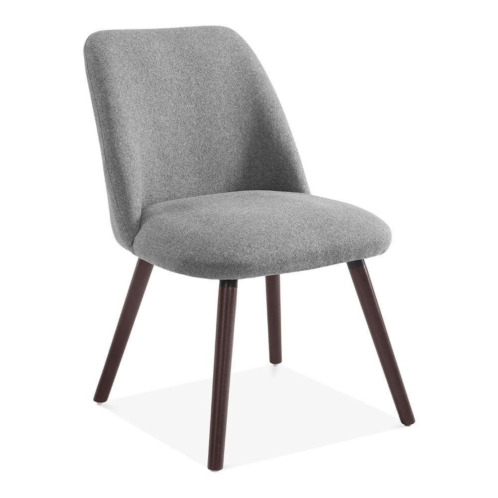 Hanover Sleek Scandinavian Dining Chair Grey Fabric