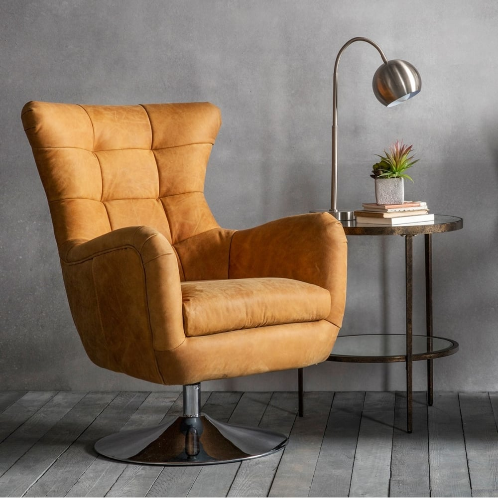 Chester Tan Leather Upholstered Lounge Chair  Swivel