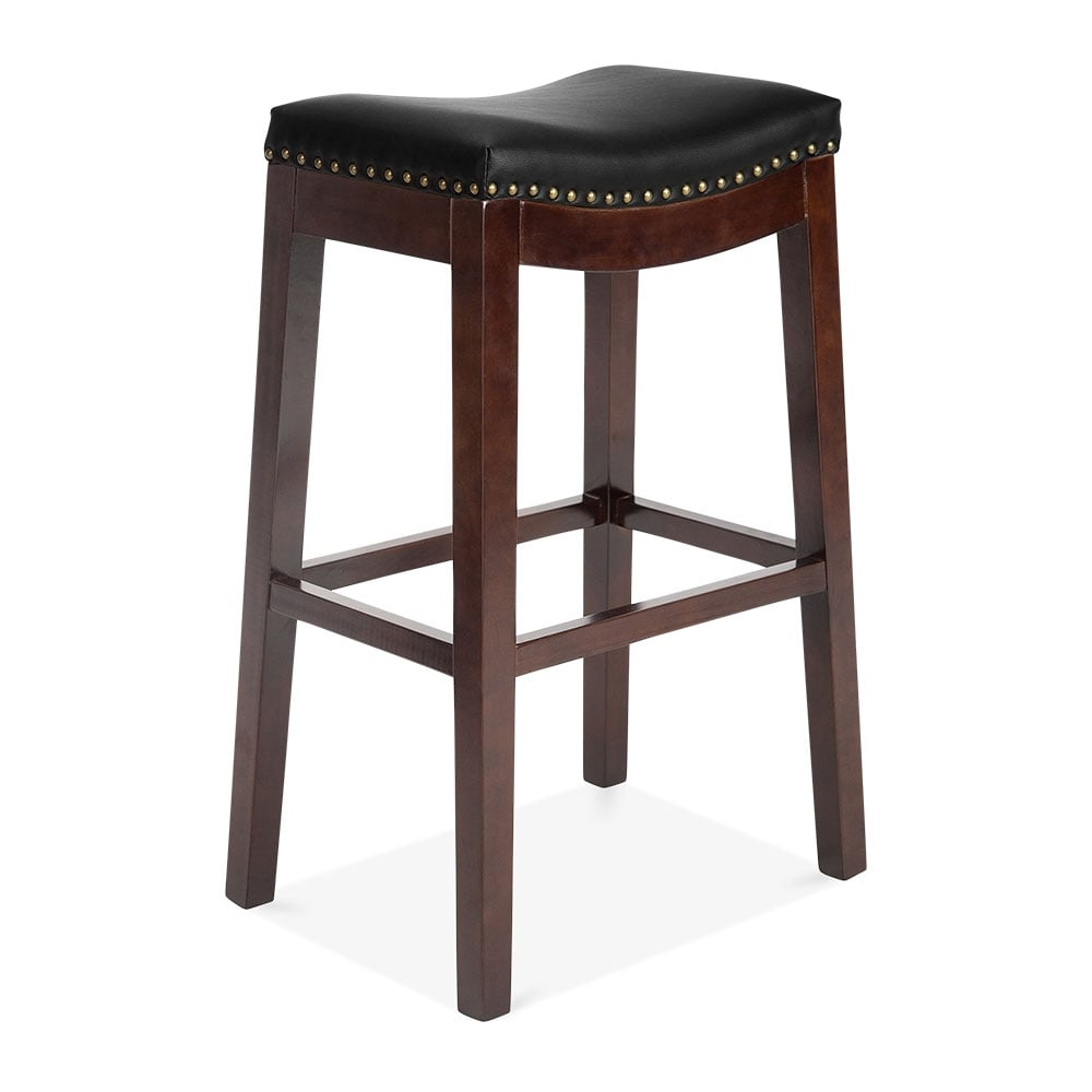 Black Faux Leather Upholstered Oxford Bar Stool