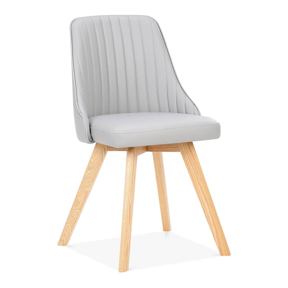 Grey Faux Leather Upholstered Logan Dining Chair  Modern