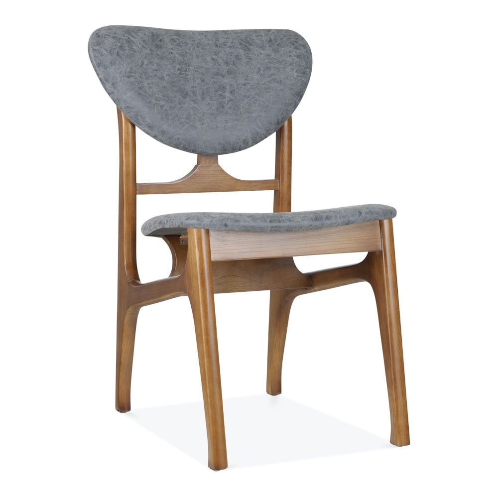 Cabin Vintage Dining Chair  Solid Ash Wood  Grey Faux