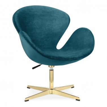 modern lounge chairs uk childrens with arms designer contemporary swan chair velvet upholstered teal and gold