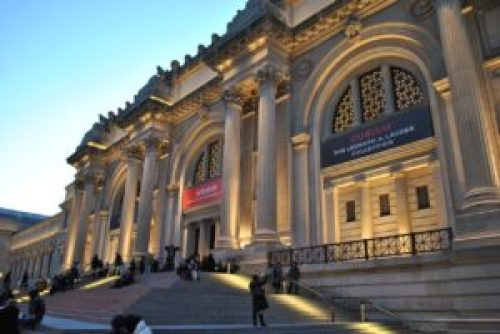 A photo taken from the outside of the Metropolitan Museum of Art.