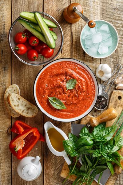 Ingrédients gaspacho de tomates