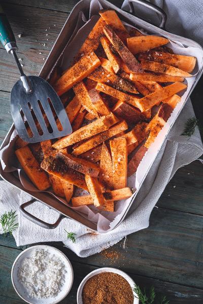 Préparation frites de patate douce
