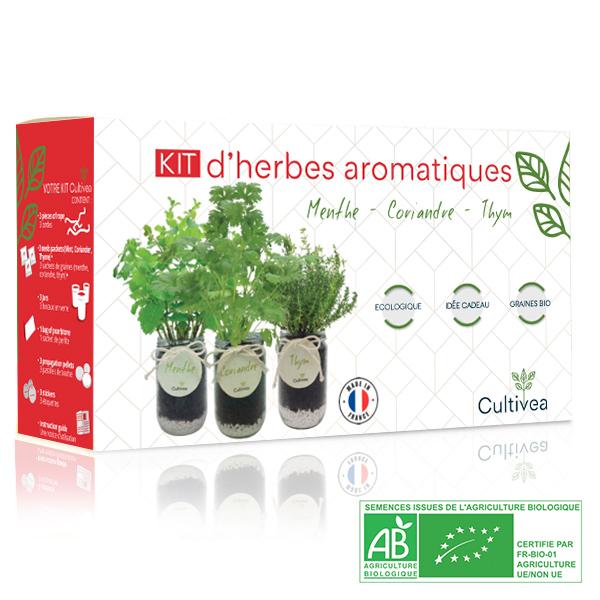 Photo présentation kit herbes aromatiques rouge