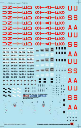 Saturn 1B 1144 scale decals from Space Model Systems