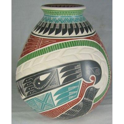 Mata Ortiz Pottery, Chihuahua Martin Olivas Quintana Birds