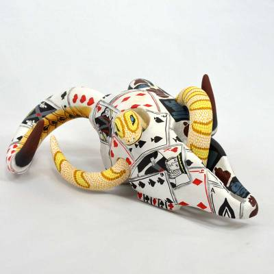 Eleazar Morales Eleazar Morales: Bighorn Skull with Yellow Snake Bighorn Sheep