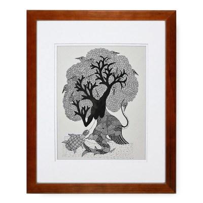 Gond Tribal Art Mansingh Vaym: Nature – In Stock Gond Art