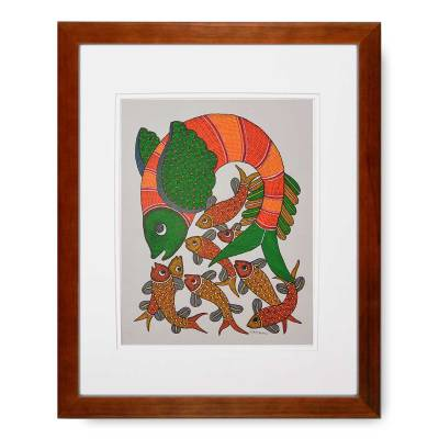 Gond Tribal Art Rajendra Shyam: Shoal of Fish – In Stock Fish