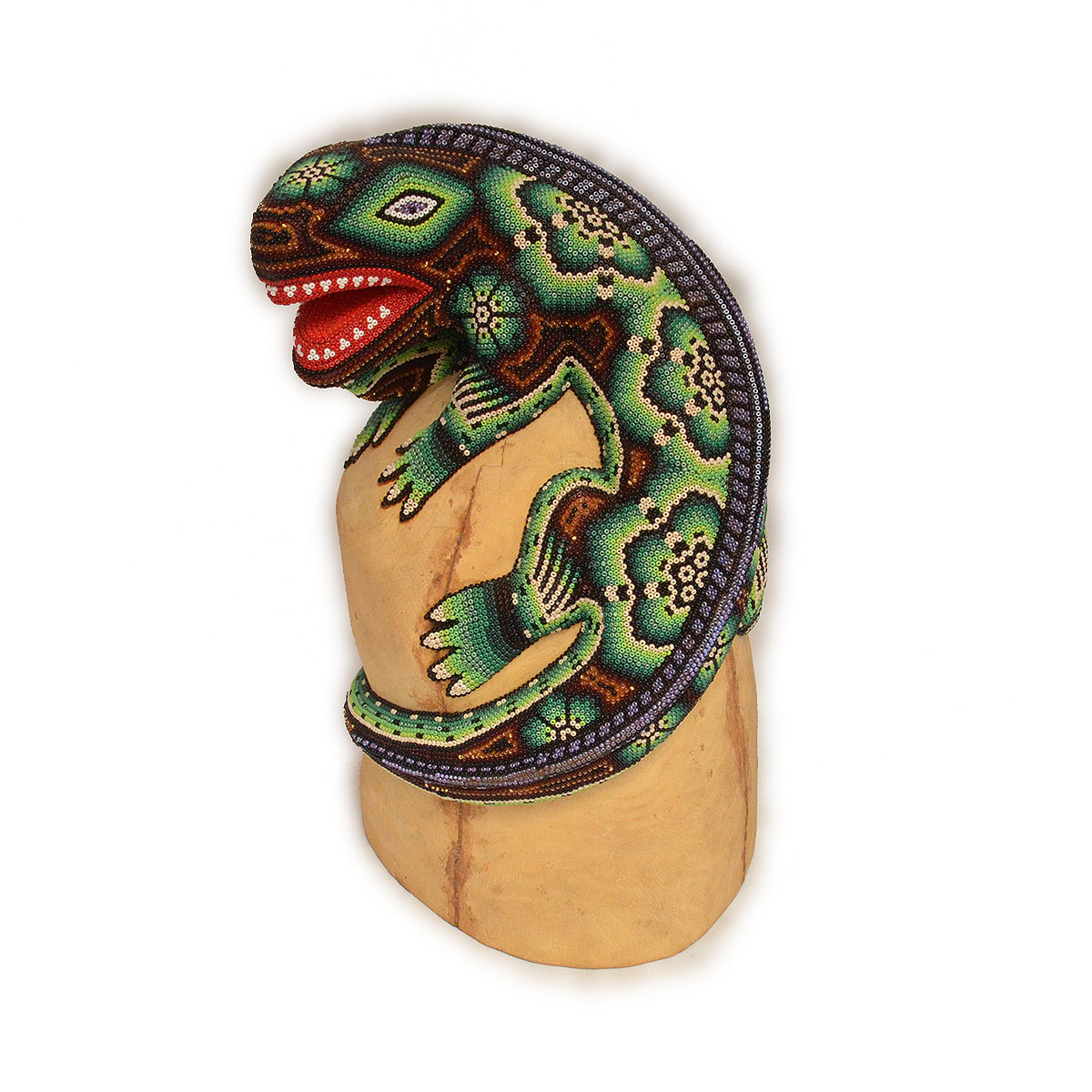 Wixárika (Huichol) Art Large Huichol BeadedLizard Wood Carving with Metallic Beads Beaded
