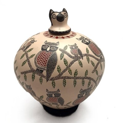 Angela Corona Angela Corona: Medium Owl Pot Birds
