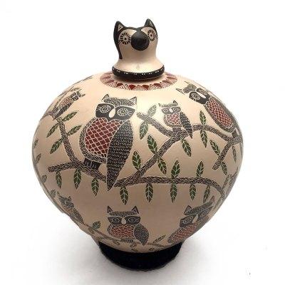 Angela Corona Angela Corona: Medium Owl Pot Birds