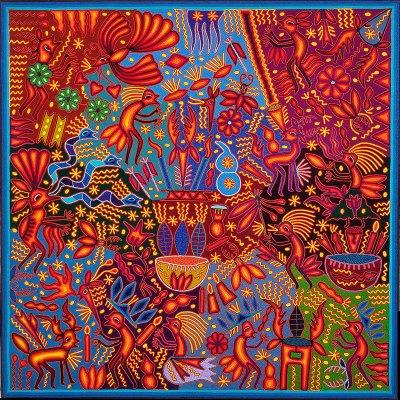 Wixárika (Huichol) Art Heliceo de la Cruz Benitez: Premier Huichol Yarn Painting Direct from Mexico Huichol