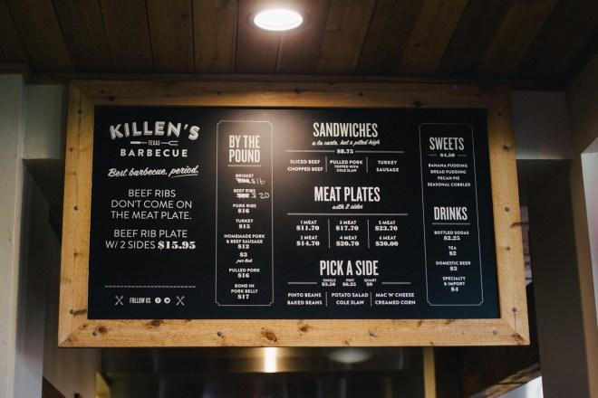 Killen's BBQ menu