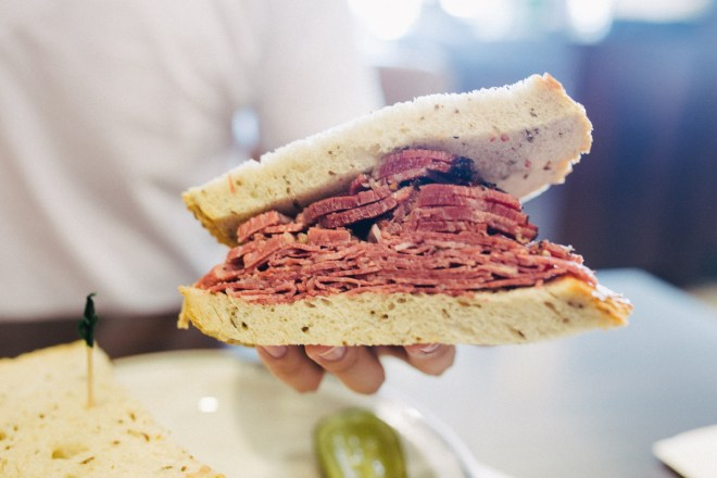 Pastrami and corned beef sandwich from Langer's