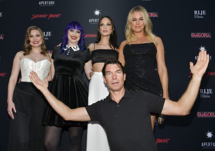 Hayley Griffith, Chelsea Stardust, Ruby Modine, Jerry O'Connell, Rebecca Romijn on the red carpet