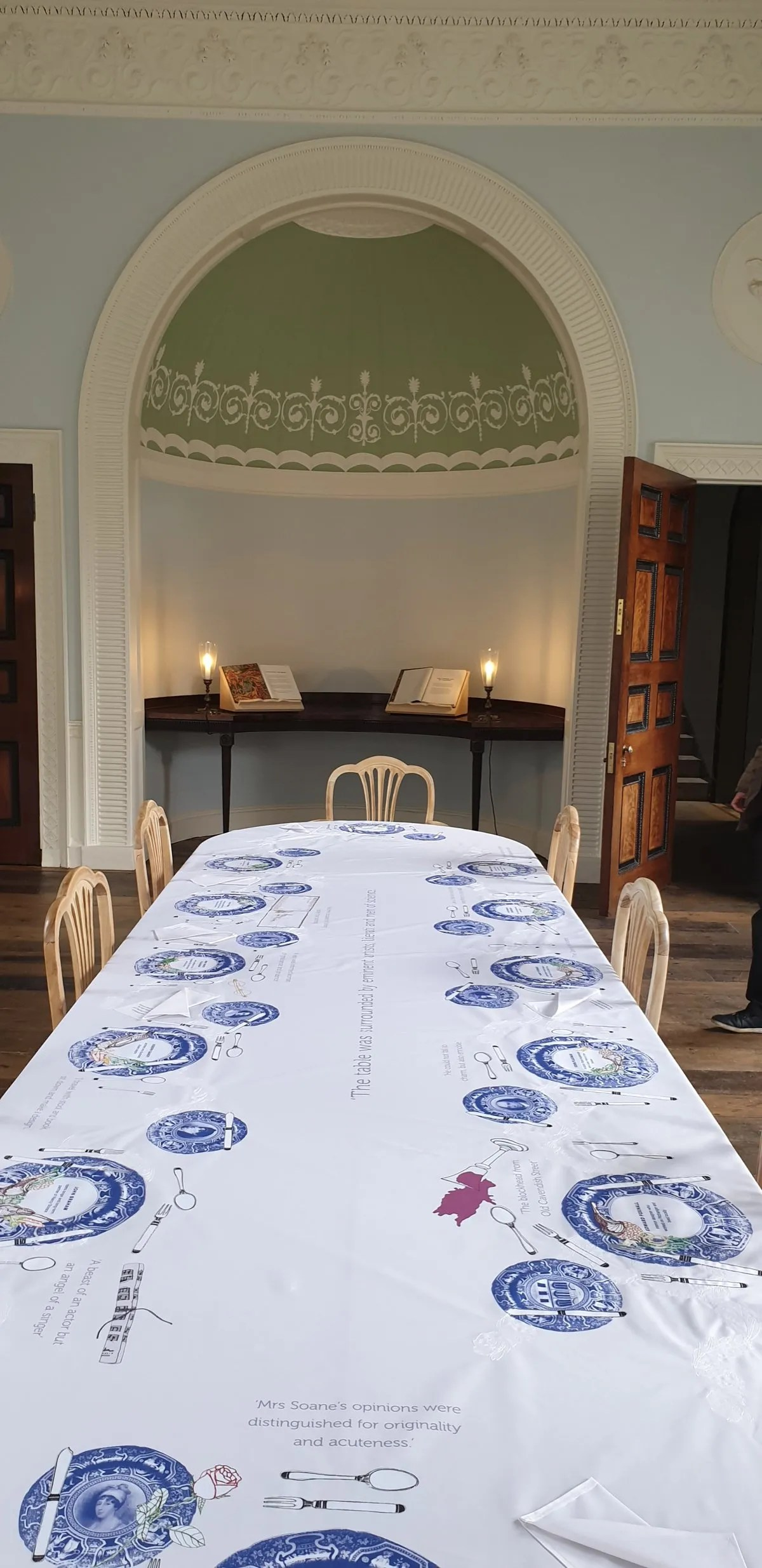 Long dining table in Neo classical John Soane room